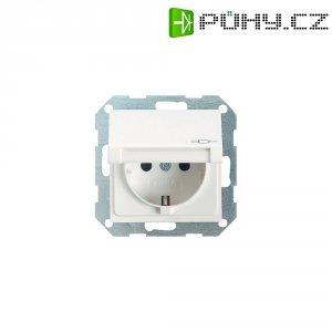 Zásuvka s krytkou Gira, 045427, matná bílá, schuko