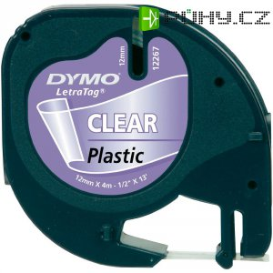 Páska do štítkovače DYMO 16951 (S0721550), 12 mm, LT LetraTAG, 4 m, černá/transp.