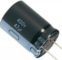 47u/400V 85° 16x27x7,5mm, elektrolyt.kondenzátor radiální