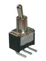 Přepínač páčkový 2pol./3pin ON-ON plošný spoj