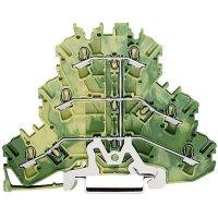 Trojřadá svorkovnice průchozí Wago 2002-3207, pružinová, 5,2 mm, zelenožlutá