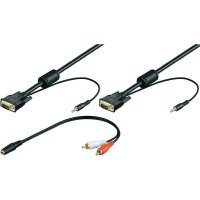 VGA, Cinch kabel, zástrčka/jack konektor 3,5 mm, černý, 3 m