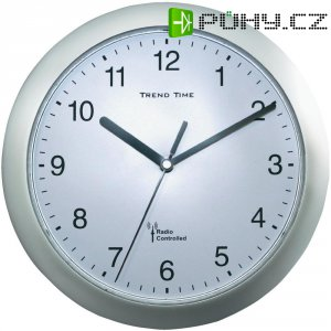 Analogové DCF nástěnné hodiny, 56787, Ø 25 x 3,8 cm, stříbrná