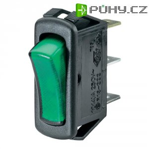 Kolébkový spínač SCI R13-222B-01, 250 V/AC, černá/zelená