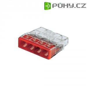 Svorka Wago, 2273-204, 0,5 - 2,5 mm², 4pólová, transparentní/červená, 10 kusů