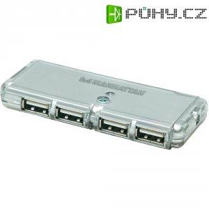 USB 2.0 hub Manhattan Hi-Speed Pocket, 4-portový, stříbrný
