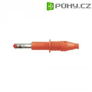 Lamelový konektor Ø 4 mm MultiContact 66.9584-22, zástrčka rovná, červená