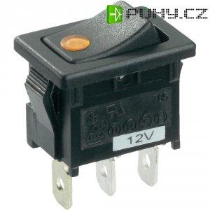 Kolébkový spínač SCI R13-66B2-02 B/B s aretací 12 V/DC, 16 A, 1x vyp/zap, černá, žlutá, 1 ks