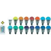 LED RGB žárovka E27 s dálkovým ovládáním pro volbu libovolné barvy