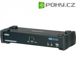 KVM switch Aten pro USB a DVI Dual Link s přenosem zvuku a USB 2.0 hub, 2-portový