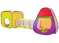 Dětský stan a hrací domeček s tunelem včetně 200 míčků, MALATEC