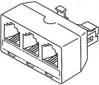 Telefonní rozbočení 6P6C 1x male/3x female