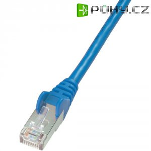 Patch kabel CAT 5e F/UTP RJ 45, vidlice ⇔ vidlice, 0,5 m, modrý