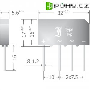 Křemíkový můstkový usměrňovač Diotec B250C5000-3300, U(RRM) 600 V, 3,3 A, SIL
