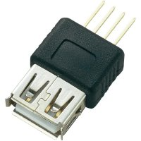 USB konektor s DPS montáží Typ A, zásuvka rovná