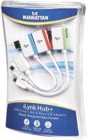 Hub + USB hub Manhattan iLynk, micro a Mini USB adaptér, 19 cm