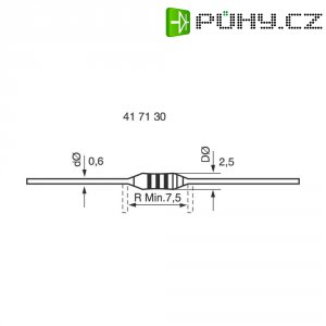 Metalizovaný rezistor, 0,75 Ω , 5 %, 0207, axiální vývody, 0,6 W