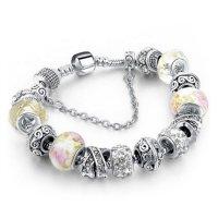 Šperk náramek Eternal - Stříbrná / Bílá 2