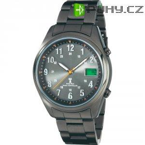 Ručičkové náramkové DCF hodinky Multiband, kovový pásek, solární, šedá