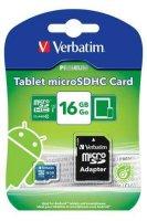Paměťová karta VERBATIM micro SDHC 16GB Tablet Class 10 UHS-1