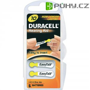 Knoflíková baterie ZA 10, Duracell PR70, zinek-vzduch, vhodná do naslouchátek, 6 ks