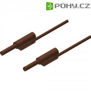 Měřicí kabel banánek 2 mm ⇔ banánek 2 mm SKS Hirschmann MVL S 25/1 Au, 0,25 m, hnědá