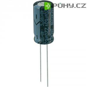 Kondenzátor elektrolytický, 220 µF, 63 V, 20 %, 20 x 10 mm