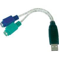 USB / PS/2 kabel klávesnice / myš Digitus DA-70118, 0.10 m, transparentní