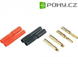 Sada dvou konektorů Schnepp 2 mm, zástrčka rovná/zásuvka rovná, 4 ks, červená/černá
