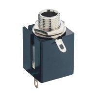 Jack konektor 6,35 mm stereo Lumberg KLBPS, Rozpínač, zásuvka vestavná vertikální, 3pól., černá