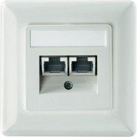 Datová zásuvka s krytem Setec, CAT 6, 2x RJ45, čistá bílá