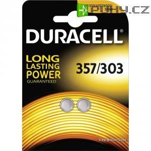 Knoflíková baterie 357, na bázi oxidu stříbra, Duracell 357/303, DUR013858, 2 ks