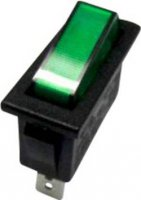 Kolébkový spínač SCI R13-70B-01 s aretací 250 V/AC, 10 A, 1x vyp/zap, černá, zelená, 1 ks