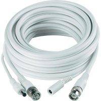 Video prodlužovací kabel Sygonix, 1x BNC, 1x DC IN ⇔ 1x BNC, 1x DC OUT, 20 m, bílý
