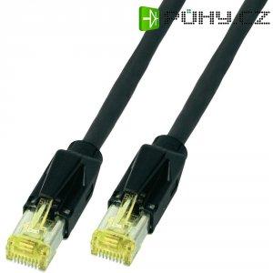 Patch kabel, CAT 6A S/FTP, RJ45, vidlice ⇔ vidlice, černá, 0,5 m