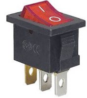 Vypínač kolébkový OFF-ON 1pól.250V/6A, červený