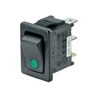 Kolébkový spínač SCI R13-66B2-02 (250V/AC 150KR) s aretací 250 V/AC, 6 A, 1x vyp/zap, černá, zelená, 1 ks