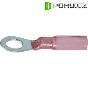 Kulaté kabelové oko DSG Canusa 7932120302, průřez 1.50 mm², průměr otvoru 6 mm, se smršťovací bužírkou, částečná izolace, červená, 1 ks