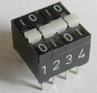 DIP spínač 4x TESLA, řazení (01)(01)-(10)(10)