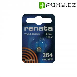 Knoflíková baterie na bázi oxidu stříbra Renata SR60, velikost 364, 19 mAh, 1,55 V