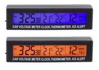 Digitální teploměr, hodiny, voltmetr do automobilu 3v1, 12V, EC88
