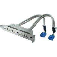 Adaptér se sloty 4x USB 2.0, 10-pinový, šedý, 0,2 m