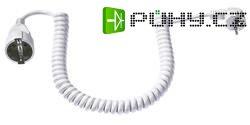 Prodlužovací spirálový kabel s ochrannou úhlovou zástrčkou Bachmann Electric, 4 m, bílá