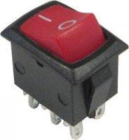 Přepínač kolébkový ON-ON 2pol.250V/3A 0-1