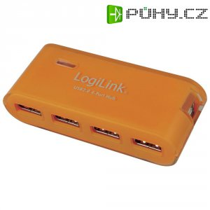 USB 2.0 hub s adaptérem LogiLink, 4-portový, oranžový