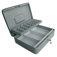 Kufřík na peníze Basetech, 30 cm, stříbrná