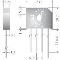 Křemíkový můstkový usměrňovač Diotec KBU12M, U(RRM) 1000 V, 12 A, SIL