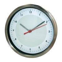 Analogové nástěnné DCF hodiny,20 cm, nerez