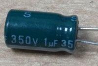1u/350V 85°C 6x12x2,5mm, elektrolyt.kondenzátor radiální