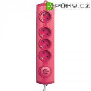Zásuvková lišta GAO s nožním spínačem, 4 zásuvky, růžová